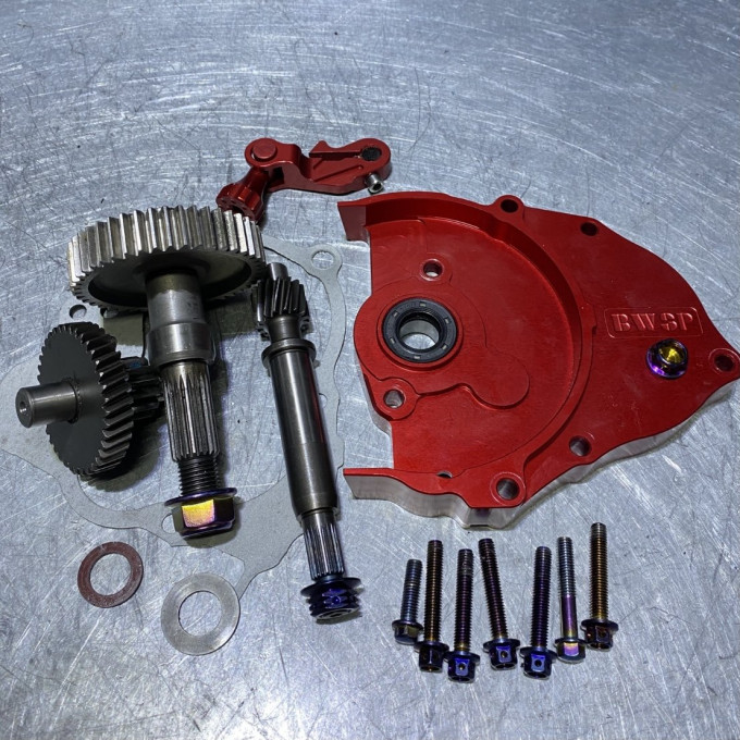 DIO50 transmission gear set with red cnc cover and modified gears -