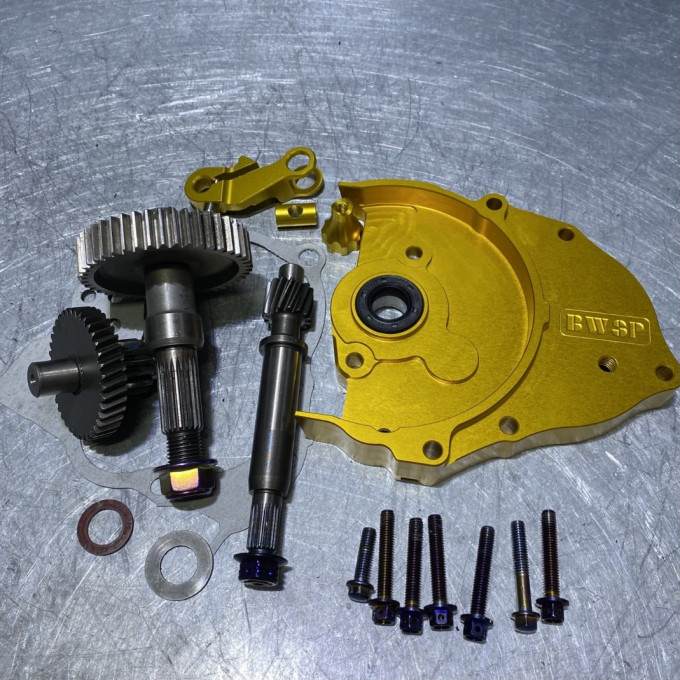 DIO50 transmission gear set with golden cnc cover and modified gears -