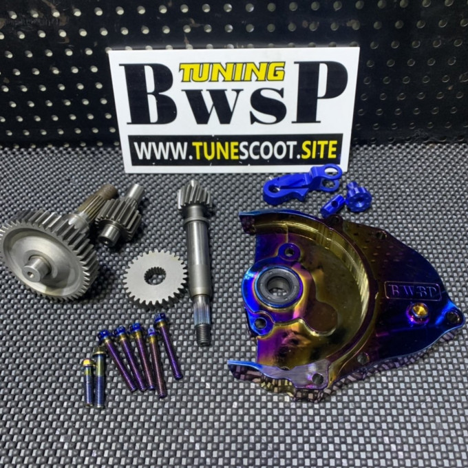 DIO50 transmission gear set with chrome cnc cover and modified gears -