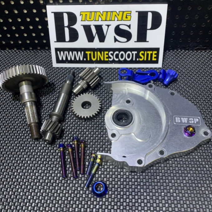 DIO50 transmission gear set with silver cnc cover and modified gears -