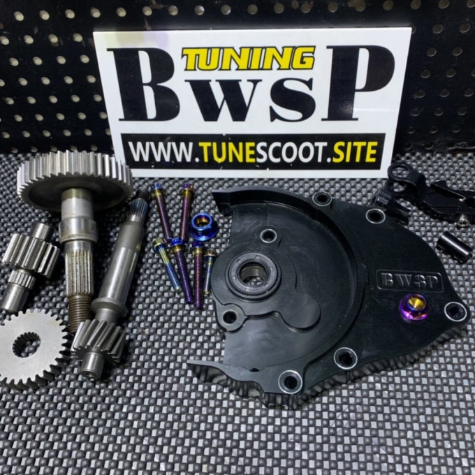 DIO50 transmission gear set with black cnc cover and modified gears -