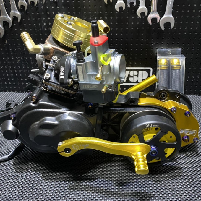 """Engine DIO50 AF18 125cc liquid (water) cooling """"BLACK EDITION"""" with golden accessories - 0222191"""